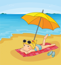 Illustration of a girl at the beach
