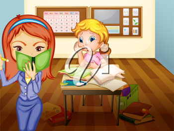 illustration of a  a girl and teacher in classroom in classroom