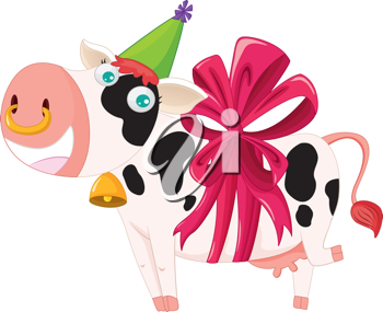 illustration of a gift wrapped cow