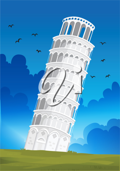 Illustration of a Leaning Tower of Pisa in Italy