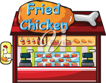 Illustration of a fast food restaurant on a white background
