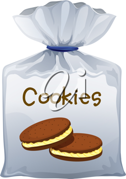 Illustration of a pouch bag of cookies on a white background