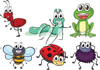 Illustration of various insects and animals on a white background
