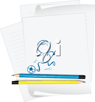 Illustration of a paper with a drawing of a boy playing soccer on a white background