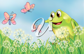 Illustration of a frog and butterflies in the garden