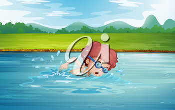 Illustration of a boy swimming at the river with goggles