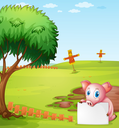 Illustration of a pig holding an empty board at the farm