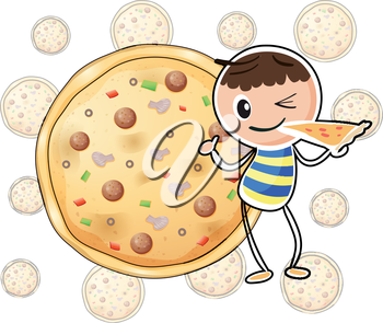 Illustration of a boy with a slice of pizza on a white background