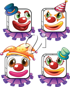 Illustration of the four square faces of a clown on a white background