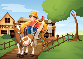 Illustration of a farmer riding in a carriage with a chicken at the back