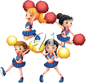Illustration of the energetic cheering squad on a white background