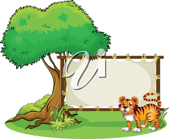 Illustration of a tiger beside a wooden frame near a big tree on a white background