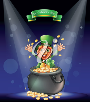 Illustration of a man with a pot full of coins at the center of the stage