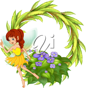 Illustration of a round border with a fairy in her yellow dress on a white background