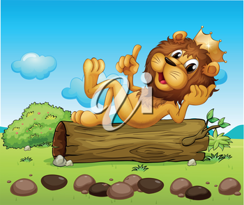 Illustration of a lion king above a trunk