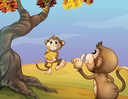 Illustration of the two monkeys beside the big tree