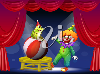 Illustration of a clown and a frog performing on stage
