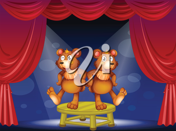 Illustration of the two bears above the table performing at the stage