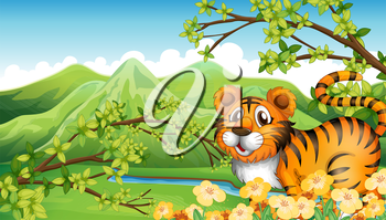 Illustration of a tiger in the mountain near the flowing river