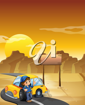 Illustration of a boy repairing a car near the empty signboard