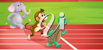 Illustration of a turtle, a monkey and an elephant running