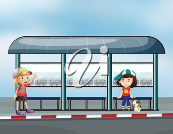 Illustration of the passengers at the waiting shed
