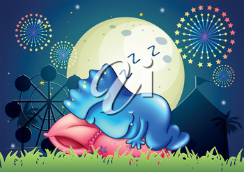 Illustration of a monster sleeping above the pillow at the amusement park