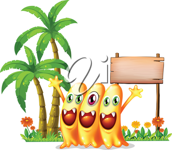 Illustration of the three happy orange monster in front of the empty wooden signage on a white background