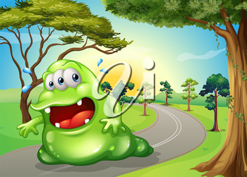 Illustration of a fat monster jogging at the road
