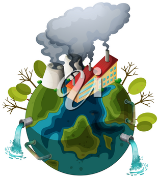 An polluted earth icon illustration
