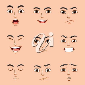 Different facial expressions of human illustration