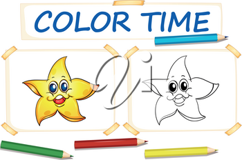 Coloring template with happy star illustration