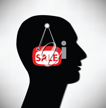 Royalty Free Clipart Image of a Man for Sale Concept
