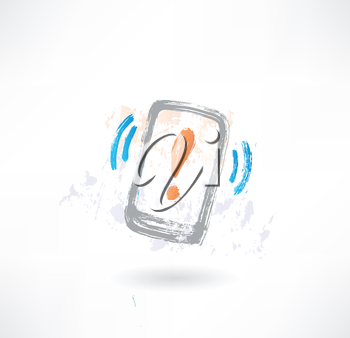 Ringing cellphone with an exclamation mark on display. Brush icon.