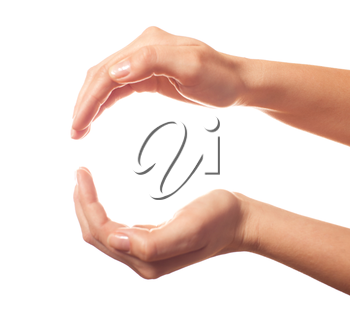 Two human hands showing sphere