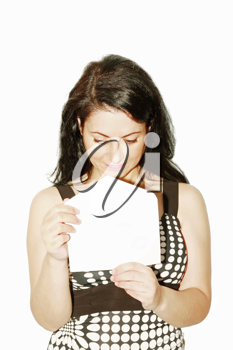 Young beautiful woman opening a letter isolated on a white background