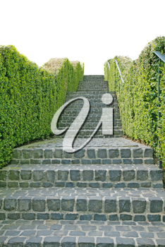 A long stone staircase isolated over a white background