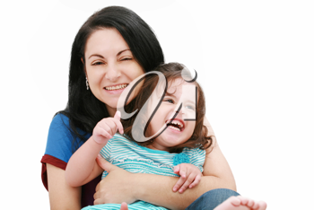 Closeup of happy young mother having fun with her daughter