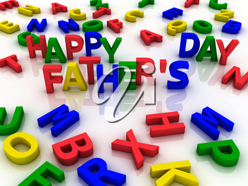 Happy father's day spelled out with colorful letters