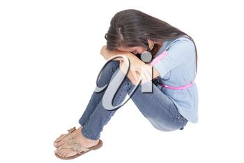 A very sad and depressed woman crying