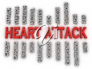 3d imagen heart attack   issues concept word cloud background
