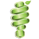 Royalty Free Clipart Image of a Green Eco Light Bulb