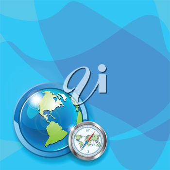 Royalty Free Clipart Image of a Globe and a Compass