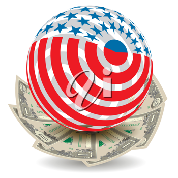 Royalty Free Clipart Image of an American Flag Globe