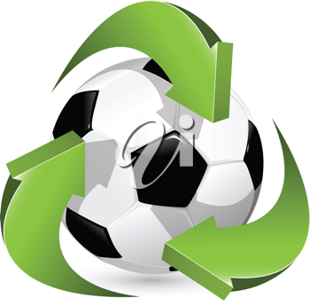 Royalty Free Clipart Image of Arrows Around a Soccer Ball