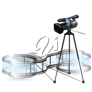 Royalty Free Clipart Image of a Video Camera and Film