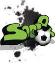 Illustration soccer ball on abstract black background