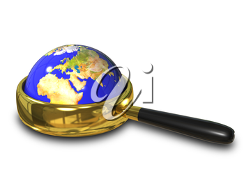 illustration blue Globe in the magnifying glass