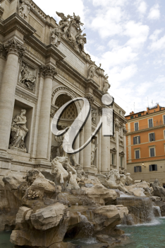 The Trevi fountain in Rome, completed in 1762