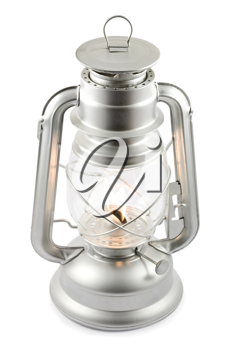 Oil lantern on fire isolated on white, clipping path included